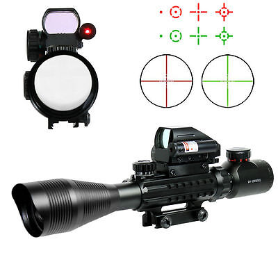 4-12X50 Tactical Rifle Scope Mil-dot w/ Holographic 4 Reticle Sight & Red Laser