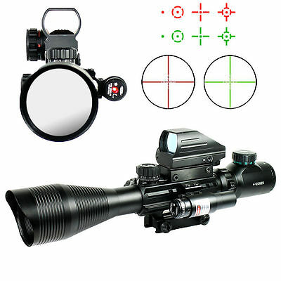4-12x50 Tactical Rifle Scope Red Green Mil-dot Holographic Sight Red Laser 3PC