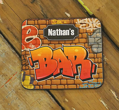 Personalised Awesome Graffiti Cork Backed Name Bar Drink Coasters