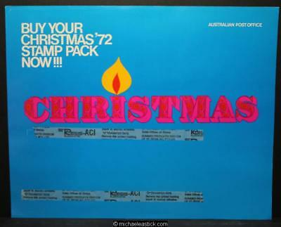 Australia Post display sheet - Christmas Stamp Pack 1972 with unused pack