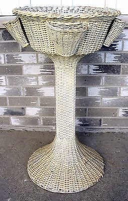 ANTIQUE HEYWOOD WAKEFIELD WICKER ferner PLANT planter STAND WATER FOUNTAIN VTG