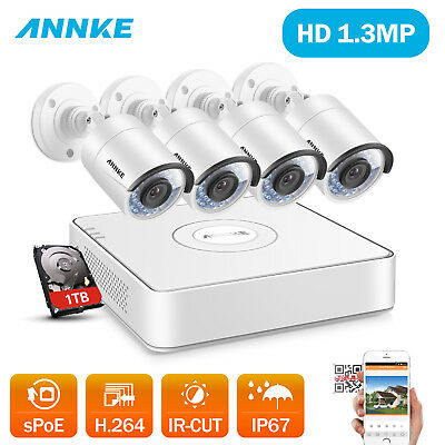 ANNKE 4 Channel 1080P NVR Network 2500TVL Home Security 960P Camera System 1TB