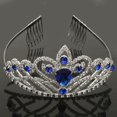Silver Blue Wedding Bridal Princess Crystal Prom Hair Tiara Crown Headband