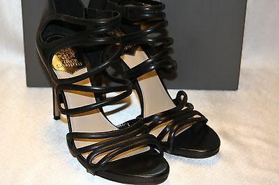 41ae94254d5 NEW! NIB! VINCE CAMUTO Black Leather FOSSEL Gladiator Stiletto Heels ...