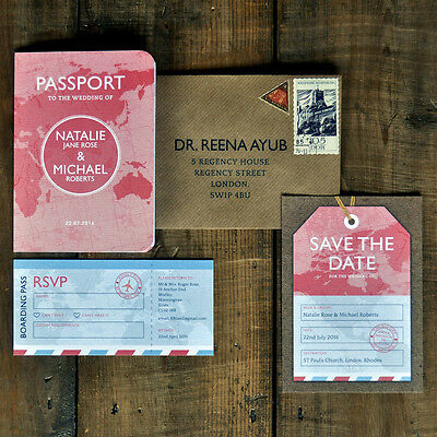 Personalised Passport Wedding Invitation - Travel Overseas Destination Folding