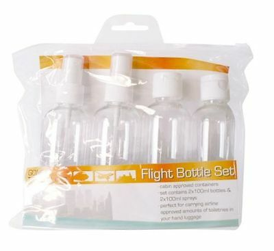 FLIGHT BOTTLE SET 2 x 100ml bottles and 2 x 100 ml spray bottles CABIN APPROVED