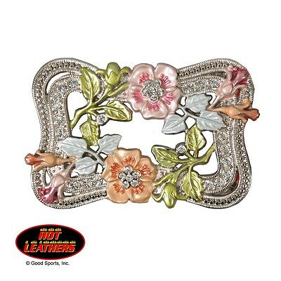 Hot Leathers Pink And Orange Flowers With Crystals Belt Buckle
