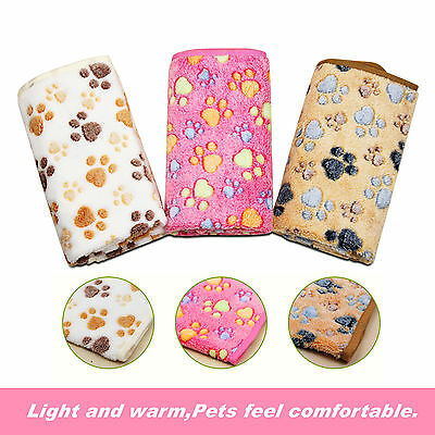 Super Soft Warm Coral Fleece Pet Beige Blanket Dogs Cats Puppy Bath Towel 80*60