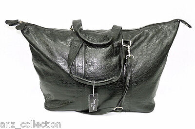 Large Black Real Crock Leather Holdall Duffle Travel Sports Gym Weekend Bag