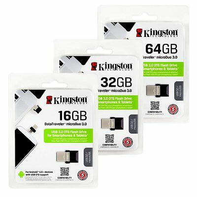 Kingston 16/32/64GB DTDUO3 MicroDuo USB 3.0 OTG Micro USB Flash Drive Stick