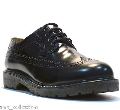 Grinders Bertrum ACS Black Men's Womens American Brogue Lace up Leather Shoes