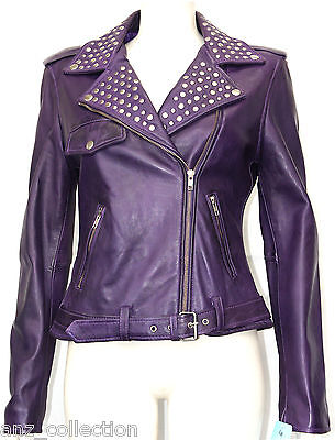 Cheryl Purple Ladies Women Rock Star Keira Knightley Studded Real Leather Jacket