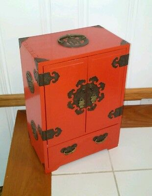 Chinese Antique Style Hardwood Jewelry Box in Red Lacquer