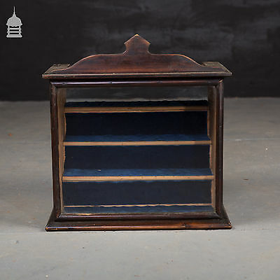 Stained Pine Display Cabinet with Velvet Shelves