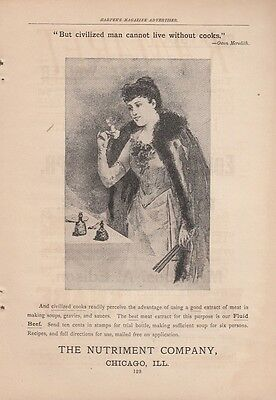 1891 The Nutriment Co Chicago IL Ad: But Civilized Man Cannot Live Without Cooks