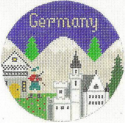 """Silver Needle GERMANY  handpainted 4.25"""" Round Needlepoint Canvas Ornament"""