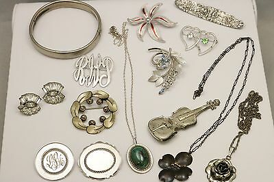 Sterling Silver Vintage Nice Signed Jewelry Lot Pins Earrings Necklaces Bangle