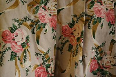 Vintage French ribbons/Roses fabric panel bedcover for reworking ,projects