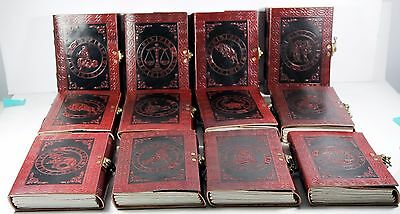 """Set of 12 - SIGNS OF THE ZODIAC - Handmade Leather Journals 5"""" x 7"""" Astrological"""