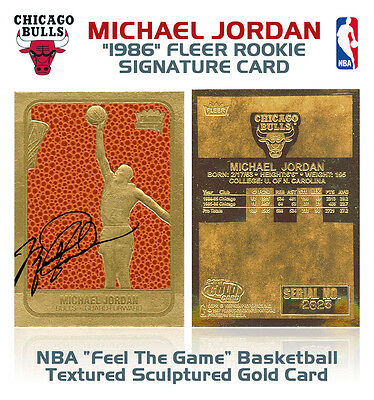 1986 MICHAEL JORDAN Fleer ROOKIE Feel The Game NBA 23K Signature GOLD Card