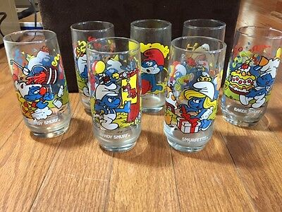 Lot of 7 SMURF Peyo 1983 Glasses Vintage Collectable Smurfette Handy Papa Hefty