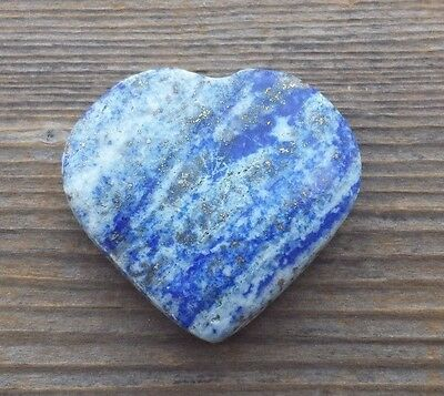 NATURAL LAPIS LAZULI GEMSTONE PUFFY HEART 30-35mm