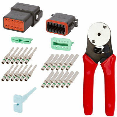 Deutsch Crimp Tool 20-12 Awg   With 12 Pin Connector Kit Black