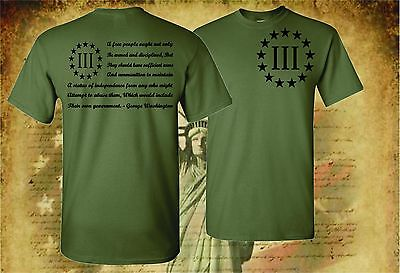 Three Percenter Patriot Apparel Usa T-Shirt Molon Labe 2Nd Amendment 3 Percent