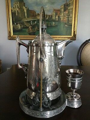 Antique Victorian Silver plate Tilting Water Pitcher with stand and goblet
