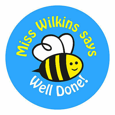 80 Personalised Teacher Reward Stickers for Pupils Well Done BEE Blue