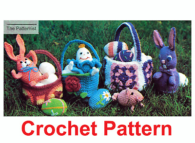 Easter Decorations Crochet Pattern Copy Vintage Bunnies Eggs Pig Humpty