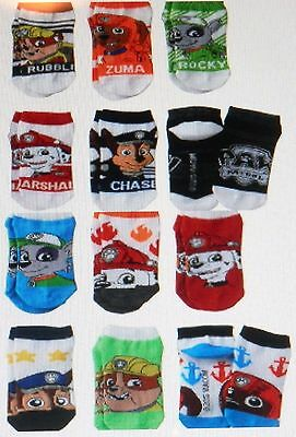 6 Pair PAW PATROL Socks Sz 4-6 Shoe Size 7-10 MARSHALL CHASE ROCKY ZUMA RUBBLE