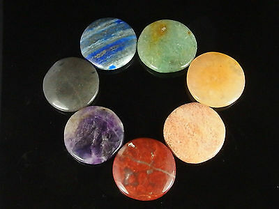 7 PC Chakra Gemstone Disc Cabochon Healing Set. Free Carry Pouch!