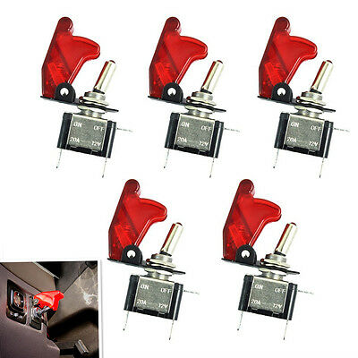 5Pcs 12V 20A Red Cover LED Rocker Toggle Switch SPST ON/OFF Car Truck Boat 2Pin