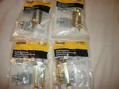 Lot of 8 STANLEY SOLID DOORSTOPS W/RUBBER TIPS  81-9002 BRIGHT BRASS