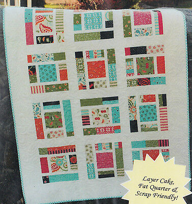 "Sassy Frass - modern pieced quilt PATTERN for 10"" squares"