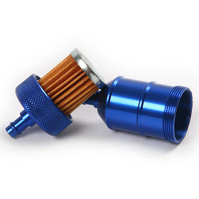 Blue 8mm Aluminum Inline Fuel Filter Petrol For Motorcycle ATVs Scooters