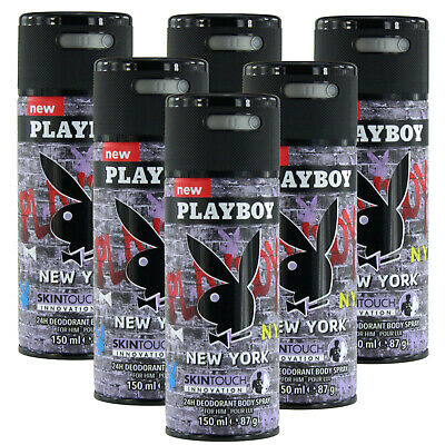 6 x 150ml Playboy New York Deo Deodorant Parfüm Bodyspray Body Spray