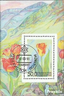 Uzbekistan block2 (complete issue) used 1993 Locals Flora