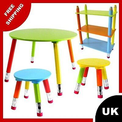 Table and two chairs for children CRAYONS ROUND PINK GREEN ORANGE BLUE NEW