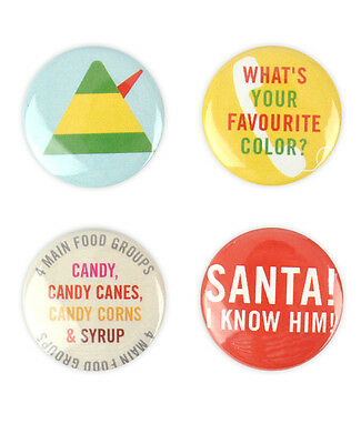 Elf Badge Set! - Will Ferrell, Zooey Deschanel,James Caan, Christmas, buttons