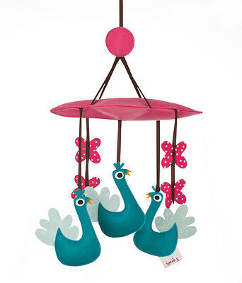 NEW 3 Sprouts Animal Baby Mobile -  Peacock