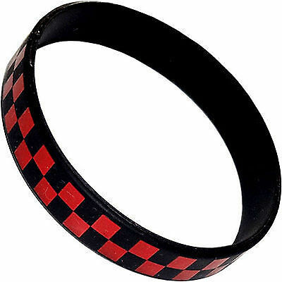 Black Red Check Rubber Silicone Wristband Bracelet Bangle Mens Ladies Jewellery