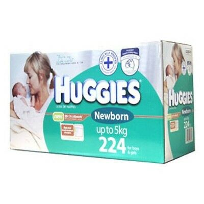 224 Huggies Size NEWBORN Baby Boy Girl Disposable Nappy PACK Boys Girls Nappies