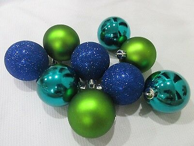 """(9) Christmas Glitter Peacock Blue Teal Green Ball 2.5"""" Ornaments Decorations"""