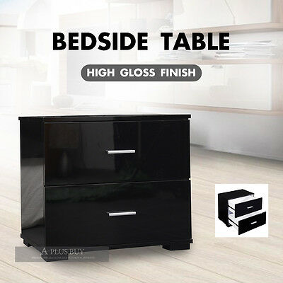 2x Tina High Gloss Black Bedside Table Storage Cabinet Chest 2 Drawer 6304