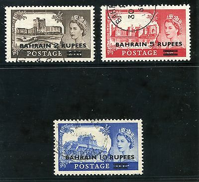 Bahrain 1955 QEII Surcharges set complete very fine used. SG 94a-96a.
