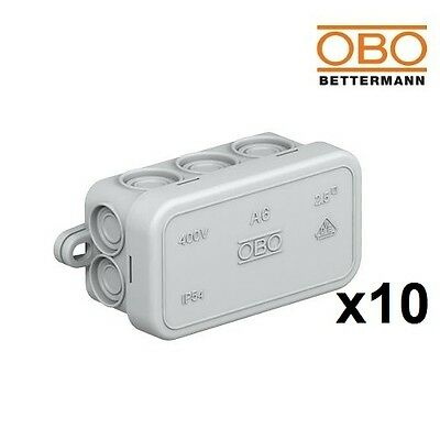 10x OBO Bettermann Junction Box A6 80x43x34mm 2000 001 NO Terminal Strip 2000001