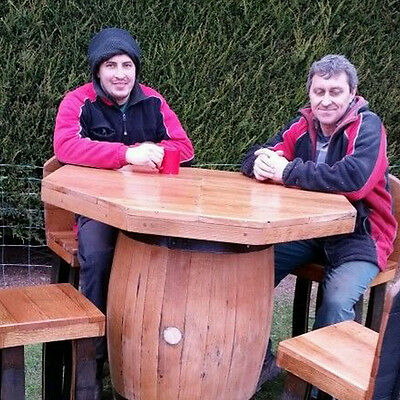 Octagon Top Oak Barrel bar table and 4 stools set from recycled whisky casks