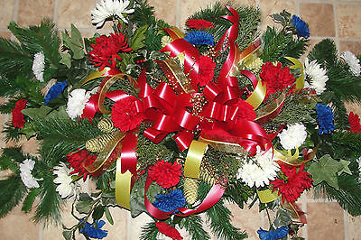 Patriotic Ribbons and Ornaments Grave Blanket Military Cemetery Headstone 5'x3'